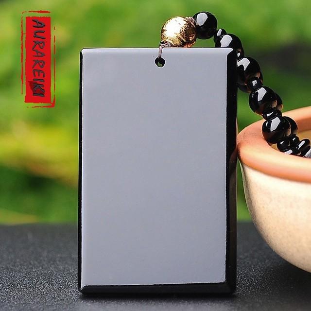 Black Obsidian Stone Buddhist Pendant