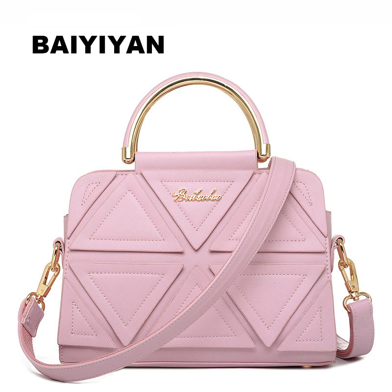 2018 Fashion Summer PU Leather Women Handbag Triangle Patchwork Shoulder Bag Classic Women Tote Bag Top handle Bag