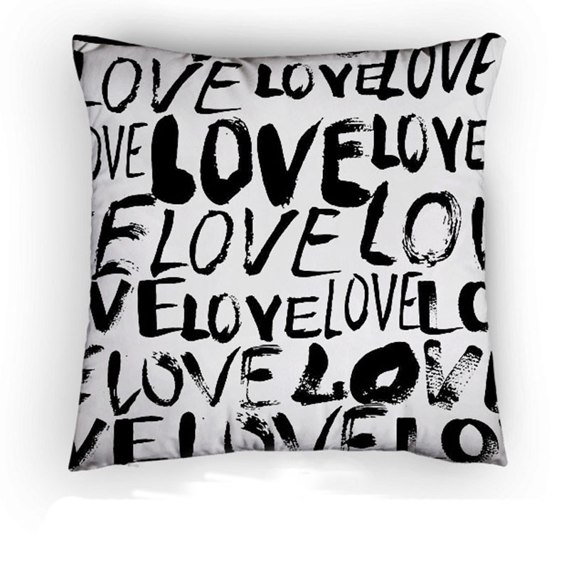 Love Heart Cushion Covers Black wods Pillow Covers Baby Bedroom Sofa Decoration almohadas decorativas