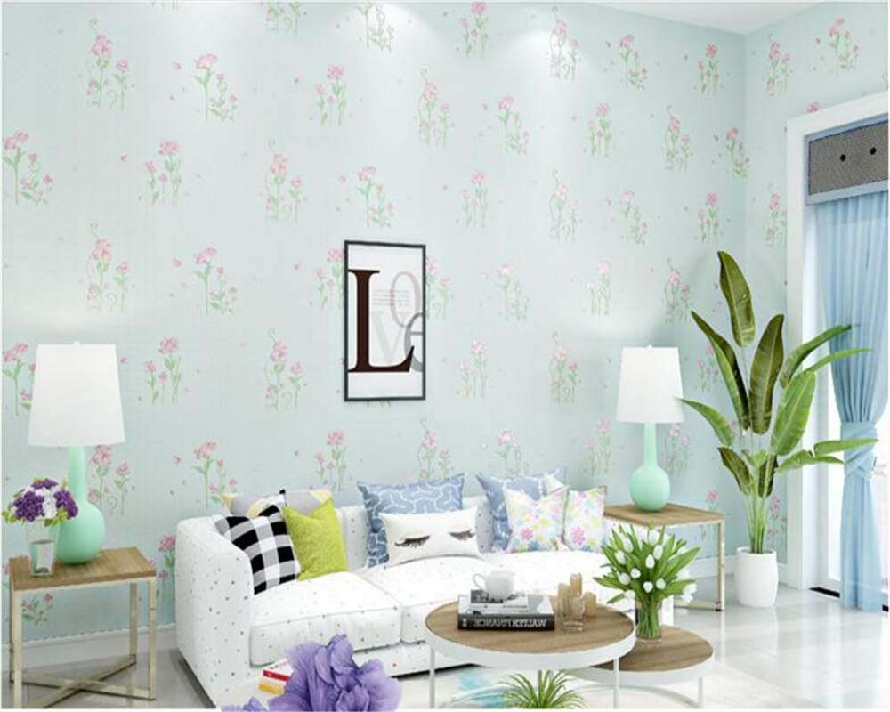 beibehang papel de parede Pastoral Nonwovens Wallpaper Stamped Embossed Romantic Clear Floral Living Room Background Wall tapetybeibehang papel de parede Pastoral Nonwovens Wallpaper Stamped Embossed Romantic Clear Floral Living Room Background Wall tapety