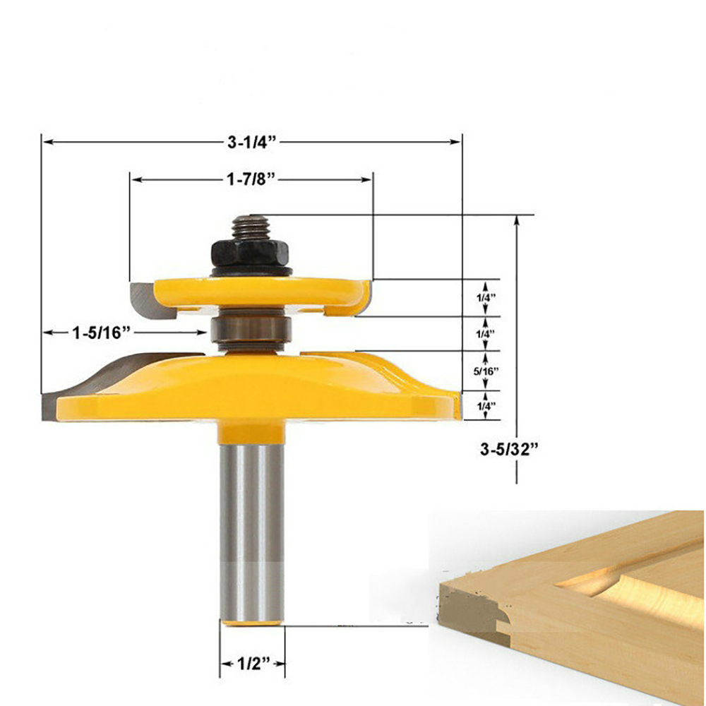 1/2 Inch Shank  Chisel Wood Cutter Router Bit Set Door Woodworking Cutting Carpentry Tool 1 2 5 8 round nose bit for wood slotting milling cutters woodworking router bits