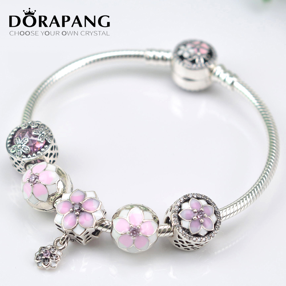 DORAPANG NEW 100% 925 Sterling Silver Bracelet Set For Europe Women Spring Pink Flowers DIY Gift Original Bangle Charm Jewelry new touch screen touch panel digitizer glass sensor replacement for 10 1 digma plane 10 7 3g ps1007pg tablet free shipping