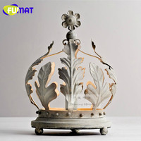 French Style Garden Iron Crown Table Lamps Children Princess Room Decoration Bedside Light Crown Desk Lamp For Bedroom