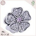 Hot Sale Trendy CZ Paving 925 Sterling Silver Cherry Flower Bead Charm