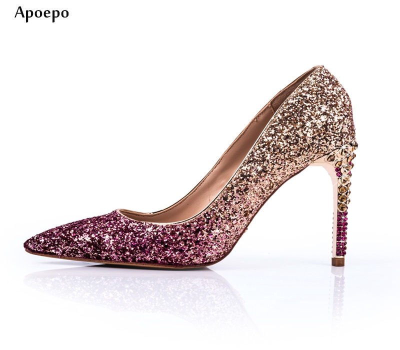 New Newest High Heel Shoes for Woman 2018 Pointed Toe Crystal Embellished Wedding Heels Slip-on Thin Heels Pumps sequined high heel stilettos wedding bridal pumps shoes womens pointed toe 12cm high heel slip on sequins wedding shoes pumps