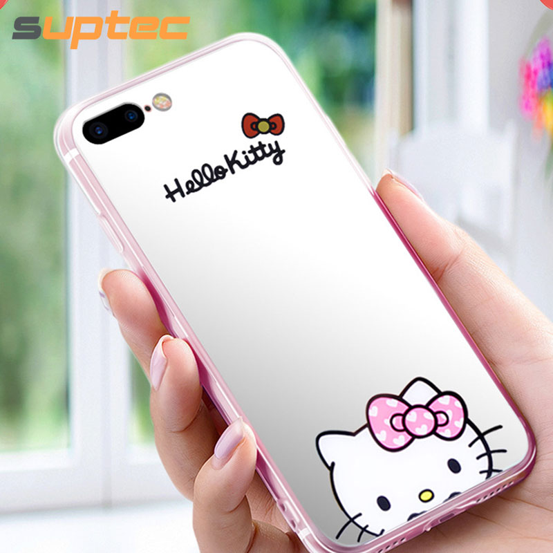 a15faacf1 SUPTEC Cute Cartoon Hello Kitty Mirror Phone Case for iPhone 8 7 6s 6 Plus  Soft Silicone Capinhas Cover for iPhone 8 7 6 s Coque