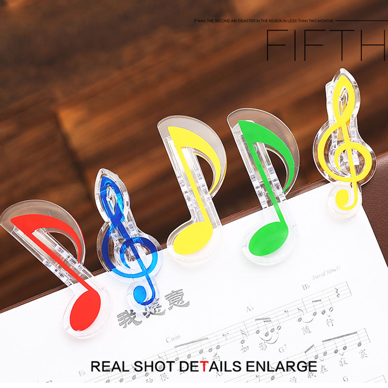 Creative Musical Note Clips Book Page Clip Kawaii Stationery Folder Clip Photos Tickets Notes Letter Paper Music Score Clips in Guitar Parts Accessories from Sports Entertainment