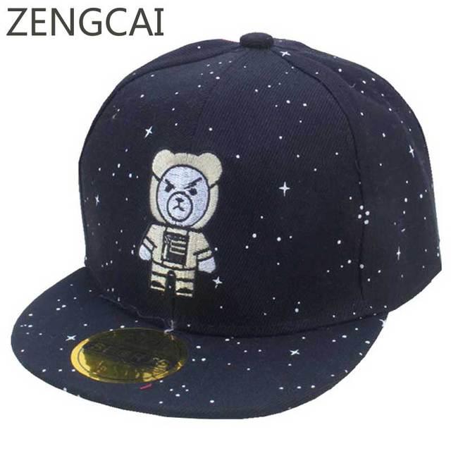 Summer Kids Star Baseball Cap Boys Bear Snapback Flat Hip Hop Girls Caps Cartoon Embroidery Children Hat Adjustable Spring Hats