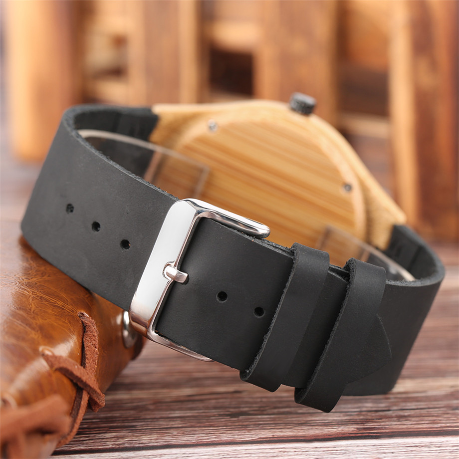 Black dial genuine leather band wood watch men10