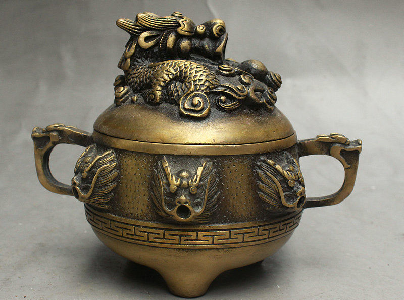 5 Old China FengShui Palace Bronze Auspicious Wealth 9 Dragon Incense Burner5 Old China FengShui Palace Bronze Auspicious Wealth 9 Dragon Incense Burner