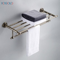 Xogolo Antique Solid Brass Wall Mounted Bath Towel Rack Wholesale And Retail Towel Shelf Double Layer