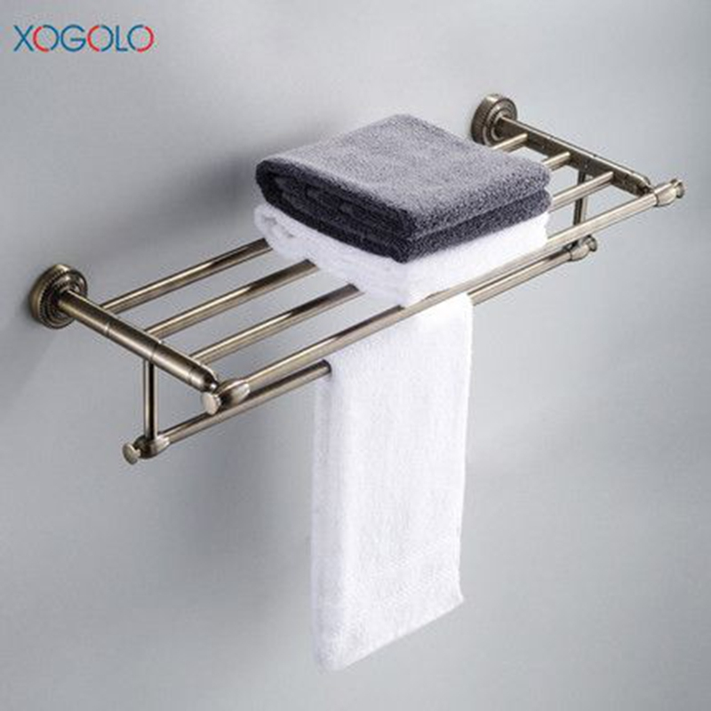 Xogolo Antique Solid Brass Wall Mounted Bath Towel Rack Wholesale And Retail Towel Shelf Double Layer Towel Hanger Accessories whole brass blackend antique ceramic bath towel rack bathroom towel shelf bathroom towel holder antique black double towel shelf