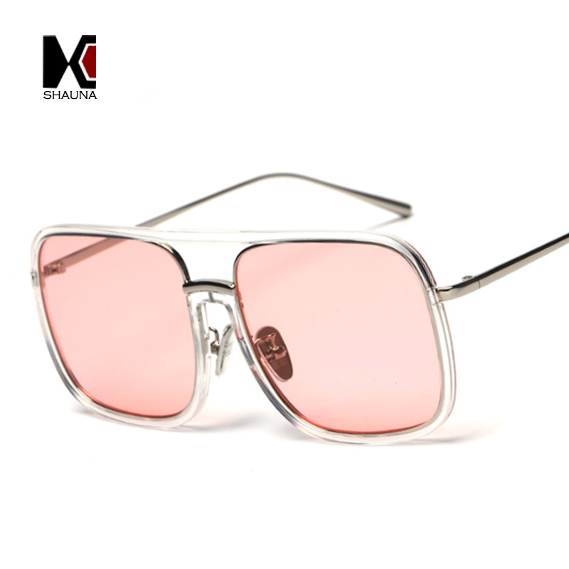 7f89d1e0149 SHAUNA Oversize Women Square Pink Tint Sunglasses Brand Designer Retro Men  Transparent Frame Clear Lens Glasses Frame