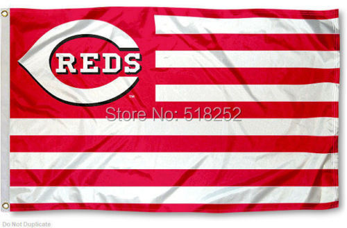 Cincinnati Reds with stripes Flag 3x5 FT MLB 150X90CM Banner 100D Polyester Custom flag grommets,free shipping