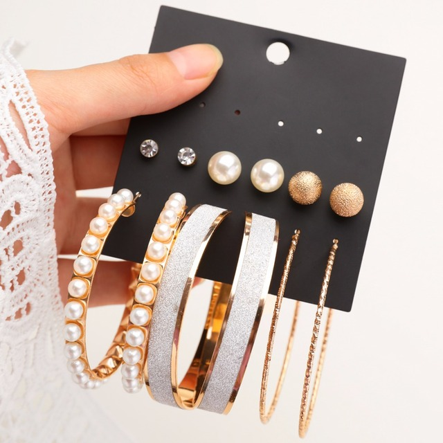 6 pairs / set of fashion gold and silver earrings women's punk simulation pearl crystal big circle earrings party ear jewelry