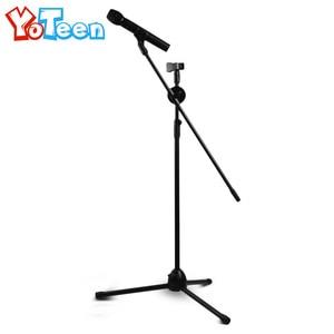 Universal Microphone Floor Stand Holder Tripods Metal Adjustable Double-headed Mic Clip Microphone Holder Telescopic Floor Stand
