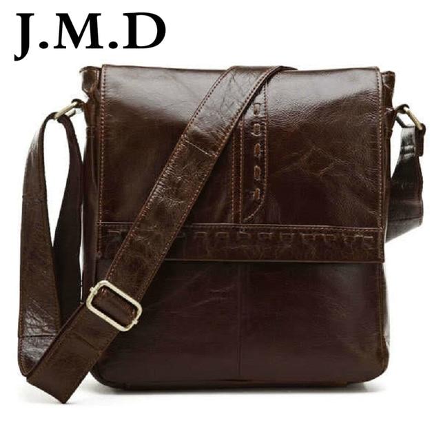 J.M.D The Latest Genuine Cowhide Vintage Leather Men s Coffee Shoulder Bag  Briefcase Messenger Bag 7125 ff073fcac18c6