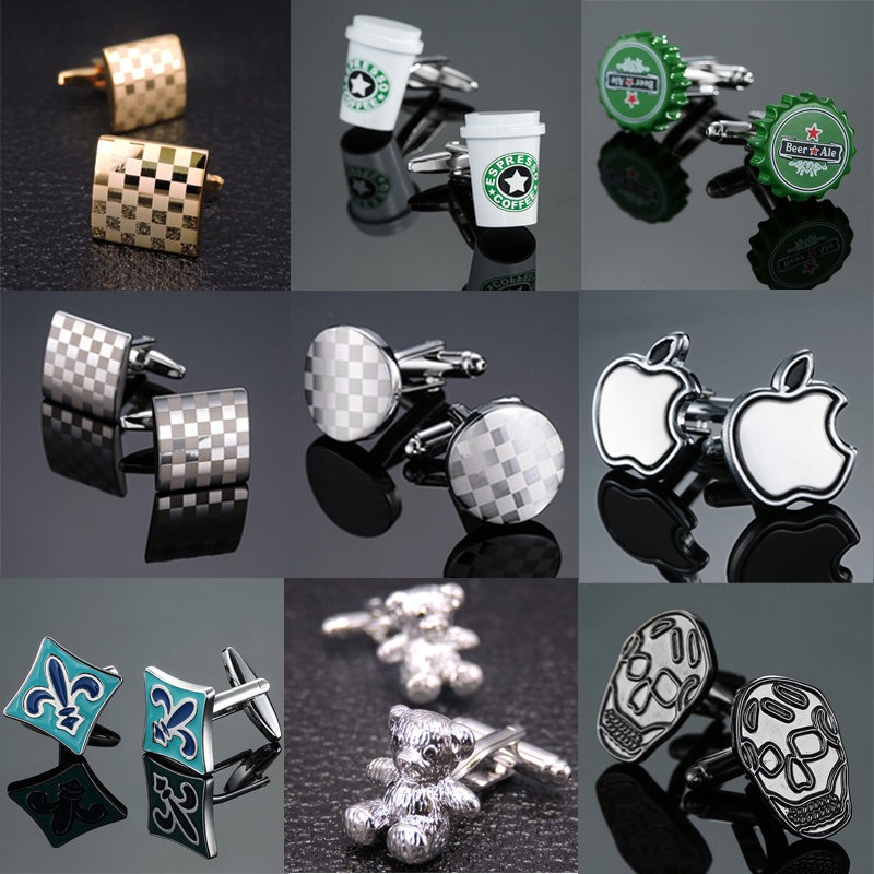 24 Styles New High-end Luxury Brand Jewelry Apple Cufflinks Fashion Men's Shirt Cufflinks Brand Crystal Cufflinks
