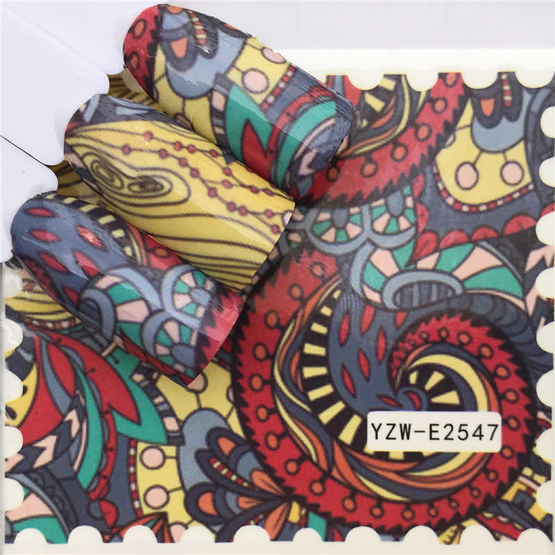 Fwc Stiker Kuku Air Decals Butterfly Floral Hewan Hitam Putih Geometri Slider Manikur Kuku Seni Dekorasi