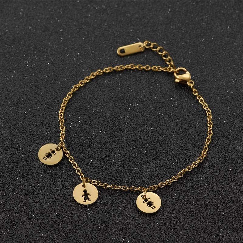Day-Bracelets Jewelry Charm Heart-Chain-Pulseras Stainless-Steel Femme Women Love Daughter