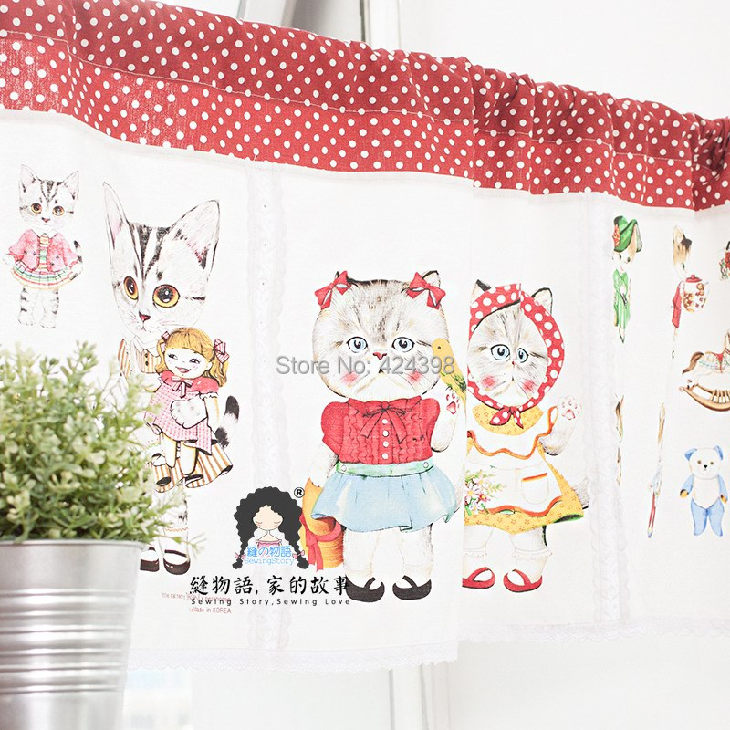 Kitchen Cabinet Curtains: Morden Japanese Style Short Cat Printed Kitchen Coffee Curtain Cabinet Curtain-in Curtains From