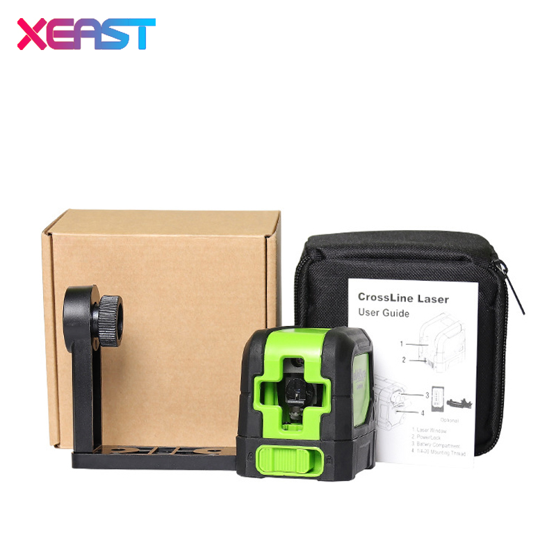 Hot XEAST MINI XE-M02  2 Lines Green Laser Level  Self Leveling Cross Laser Line portable Green Laser Level Free shipping high quality southern laser cast line instrument marking device 4lines ml313 the laser level