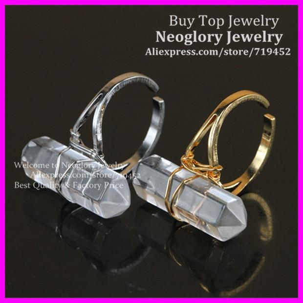 10 pièces anneau de doigt de Quartz en cristal naturel, fil plaqué or/argent anneau de Point de Bail enveloppé hexagone Reiki Charka gemmes bague Druzy