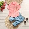 2017 Летние мальчики с коротким рукавом рубашка + Брюки 2 шт. костюм младенческой детской одежды Корейских Рубашки Брюки 1-2-3-3.5 год
