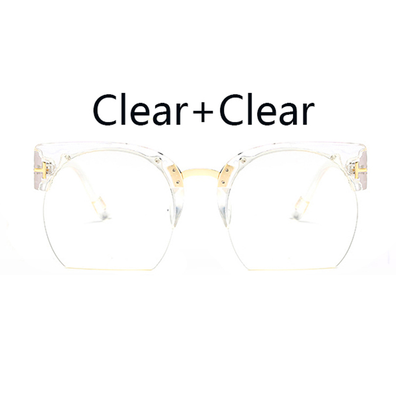 Oversized Sunglasses Women Brand Designer Fashion Tom Vintage Cat Eye Sunglasses Ladies Sunglasses Clear Female Oculos UV400