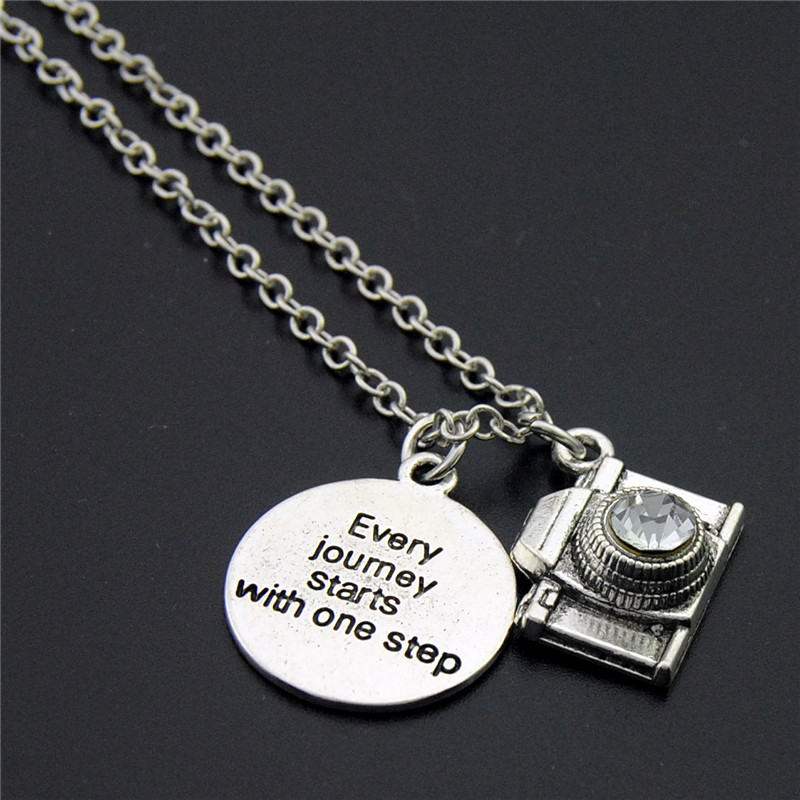 1PC Vintage Silver Camera Pendants Charms WordEvery Journey Starts With One StepNecklace For Women Jewelry E1024