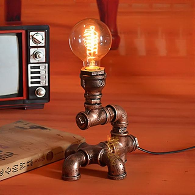 Candeeiro de mesa Retro Industrial Tubulações De Água De Ferro Forjado Lâmpadas Quarto Do Vintage lâmpada de Mesa Da Arte Deco Lâmpada de Cabeceira Luminárias
