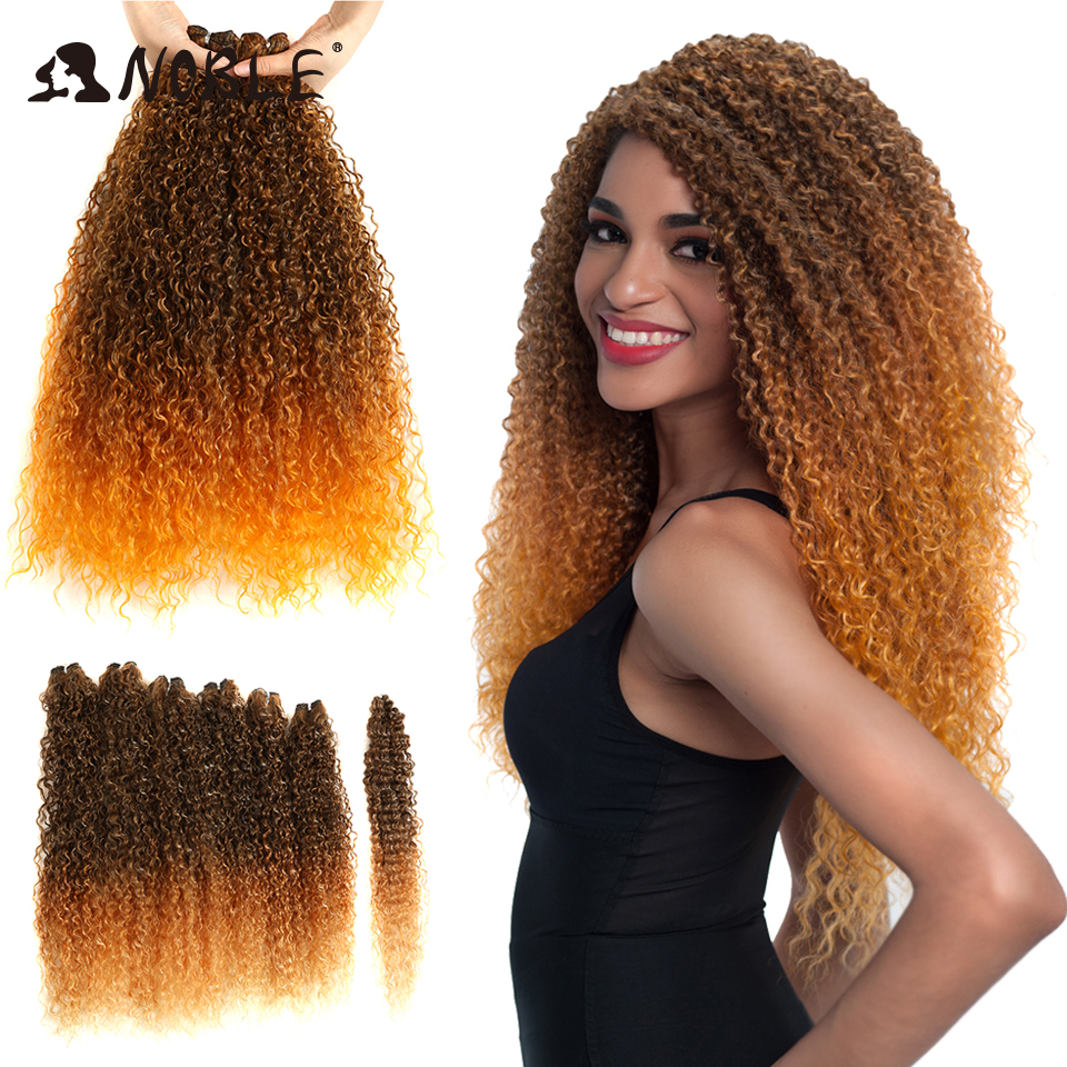 Noble Kinky Curly Hair Bundles 7pcs/pack 22-24-26inches 220g Ombre Color Synthetic Hair Bundles One Pack Can Full Fluffy Head