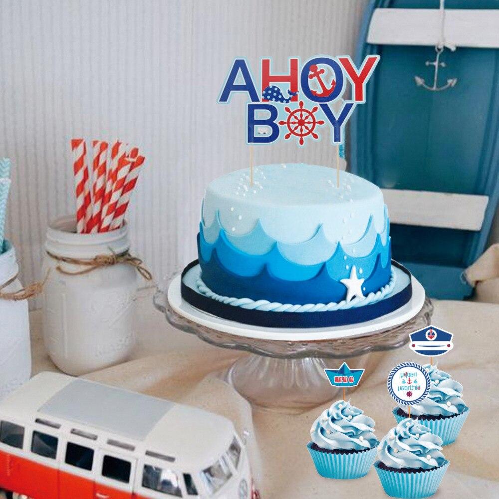 Set Of 9 Ahoy Boy Nautical Theme First Birthday Party Baby Boy Cake