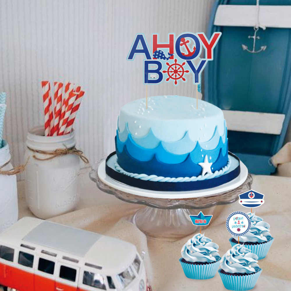 Set Of 9 Ahoy Boy Nautical Theme First Birthday Party Baby Cake Toppers Kit