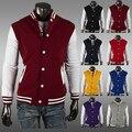 [Азиатский Размер] 2106 Весна Осень мужская Классический Бейсбол Varsity Куртки И Пиджаки Вскользь Уменьшают Пальто куртки Балахон 8 цвета