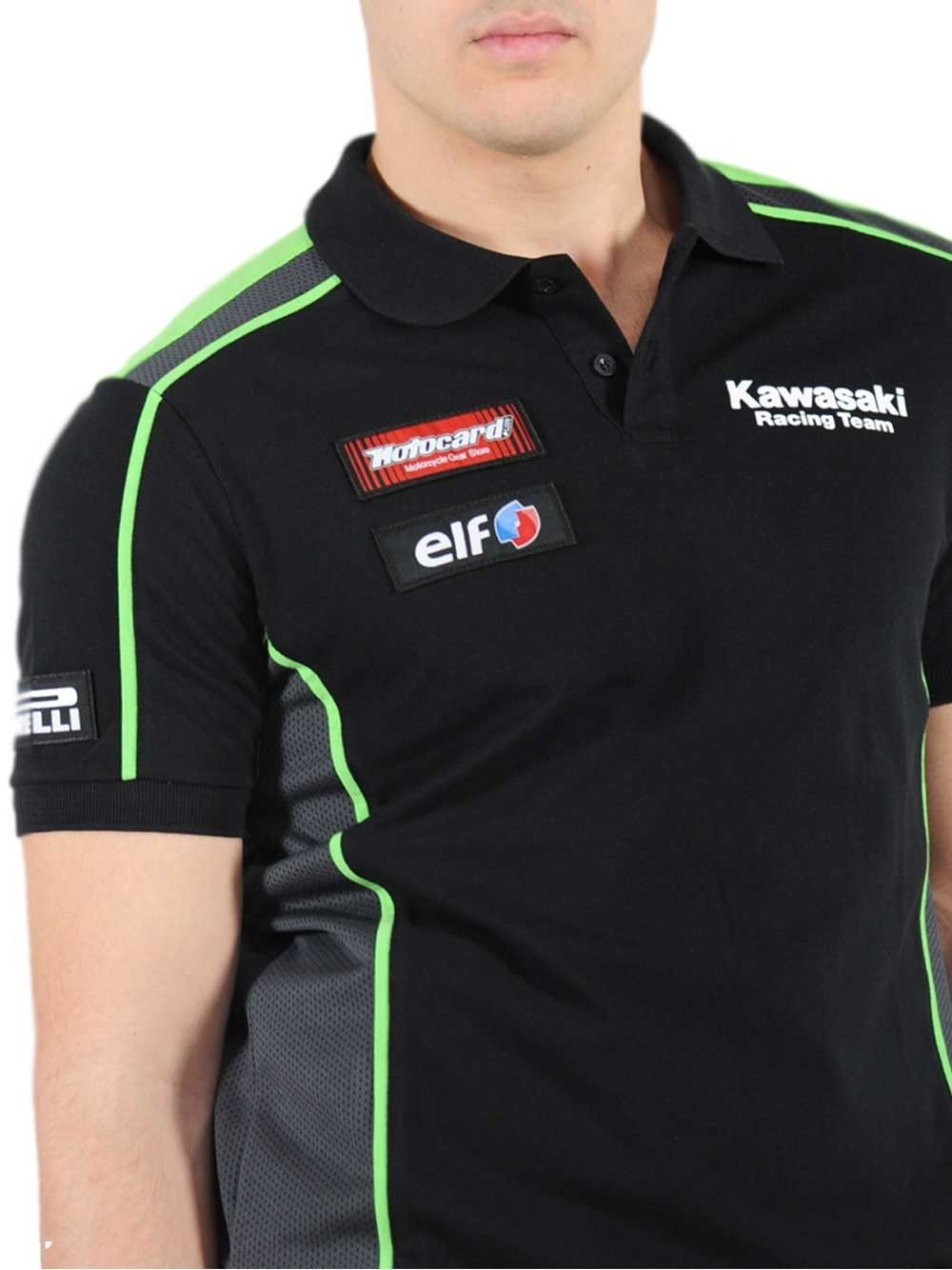 Kawasaki Motogp Racing Polo T Shirt Blackgreen Motorcycle Riding