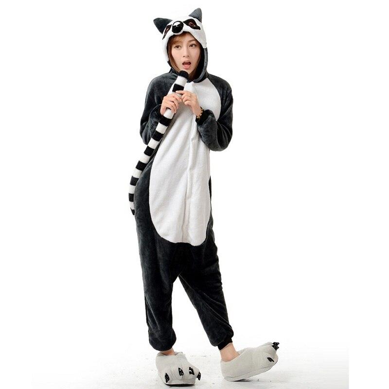 847cc7df41437 Фланель Женщин кигуруми лемур Домашняя одежда кенгуруми для взрослых Теплый  Kingurumi Длинный Рукав С Капюшоном животные пижама Onesie кигуруми д.