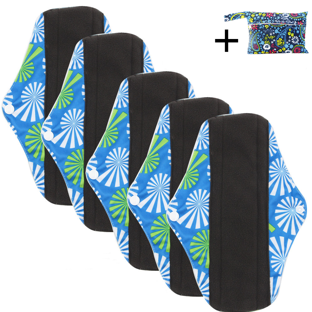 10 Piece Washable Pillow With Floral Pattern Reusable Menstrual Pad Washable Bamboo Reusable Absorbent Sanitary Napkin Size M
