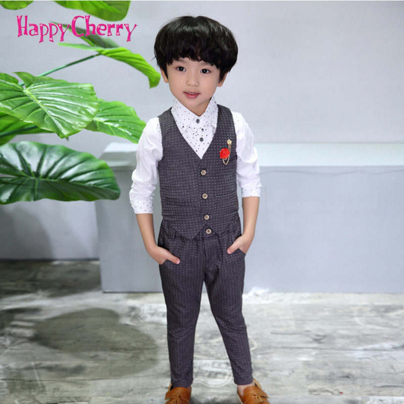 все цены на Spring Boys Formal Suit for Wedding Prom Dress 2-10Y Gentleman Boy Vest Pants Suits Set Children Christmas Party Halloween Sets онлайн