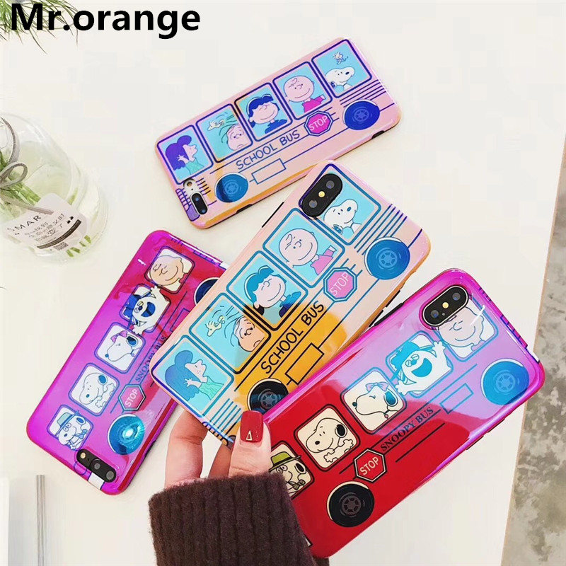 Mr.orange Cartoon cute animal <font><b>car</b></font> bus phone case For iphone 6/6s/7plus <font><b>blu-ray</b></font> TPU full package soft shell For iphone X/8plus