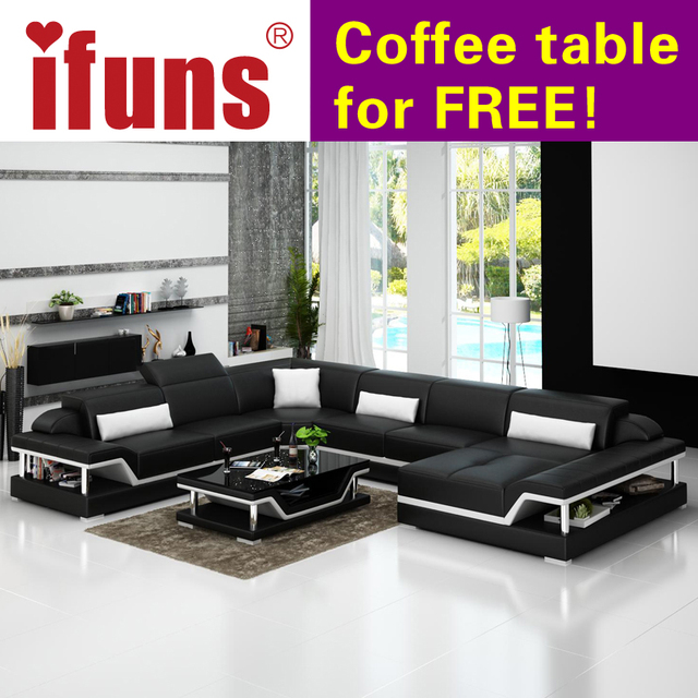 IFUNS u shaped black genuine leather modern sectional sofa top grain ...
