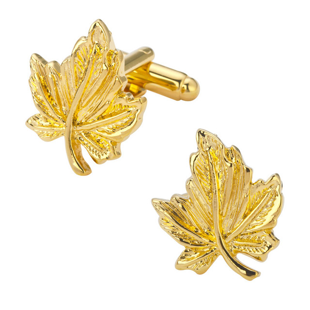 A Pair Of High Quality Gold Maple Leaf Cufflinks Wedding Gift Shirt
