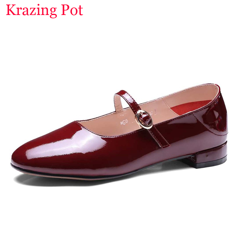 Подробнее о Krazing Pot New Fashion Brand Shoes Patent Leather Round Toe Party Thick Heel Sweet Buckle Women Pumps Lady Mary Jane Shoes L00 krazing pot new fashion brand gold shoes patent leather square toe preppy style med heels buckle women pumps mary jane shoes 90