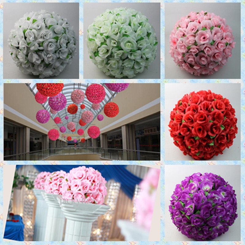 Nº12 Inch Artificial Silk Rose Flowers Kissing Balls With Green ...