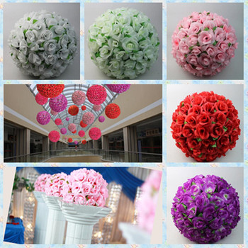 12 Inch Artificial Silk Rose Flowers Kissing Balls With Green Leafs For Wedding Christmas Ornaments Party Decoration Supplies