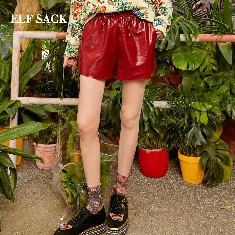 ELFSACK 2019 New Stylish Pu Leather Woman Shorts Solid Casual Mid Ladies Shorts Elastic Waist Oversized Skinny Female Shorts