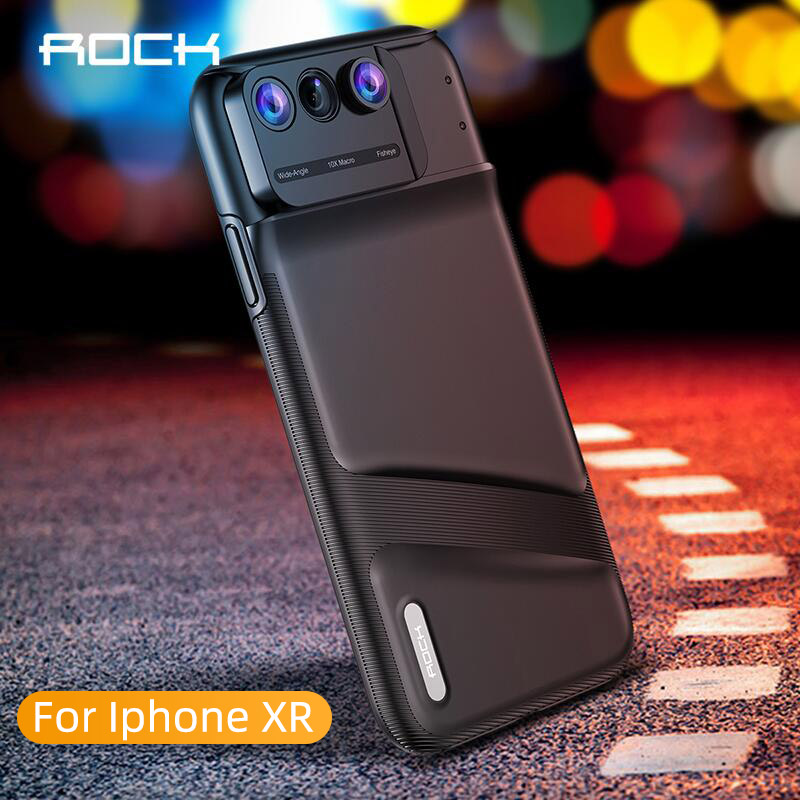 ROCK Camera Lens Phone Case for iPhone XR Fisheye Wide Angle Macro Lens Phone Cover Mobile Phone Lensese Case Full Coverage