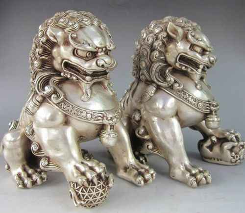 จีนเก่าทิเบตเงินแกะสลักคู่ฟูสุนัขรูปปั้นสิงโต