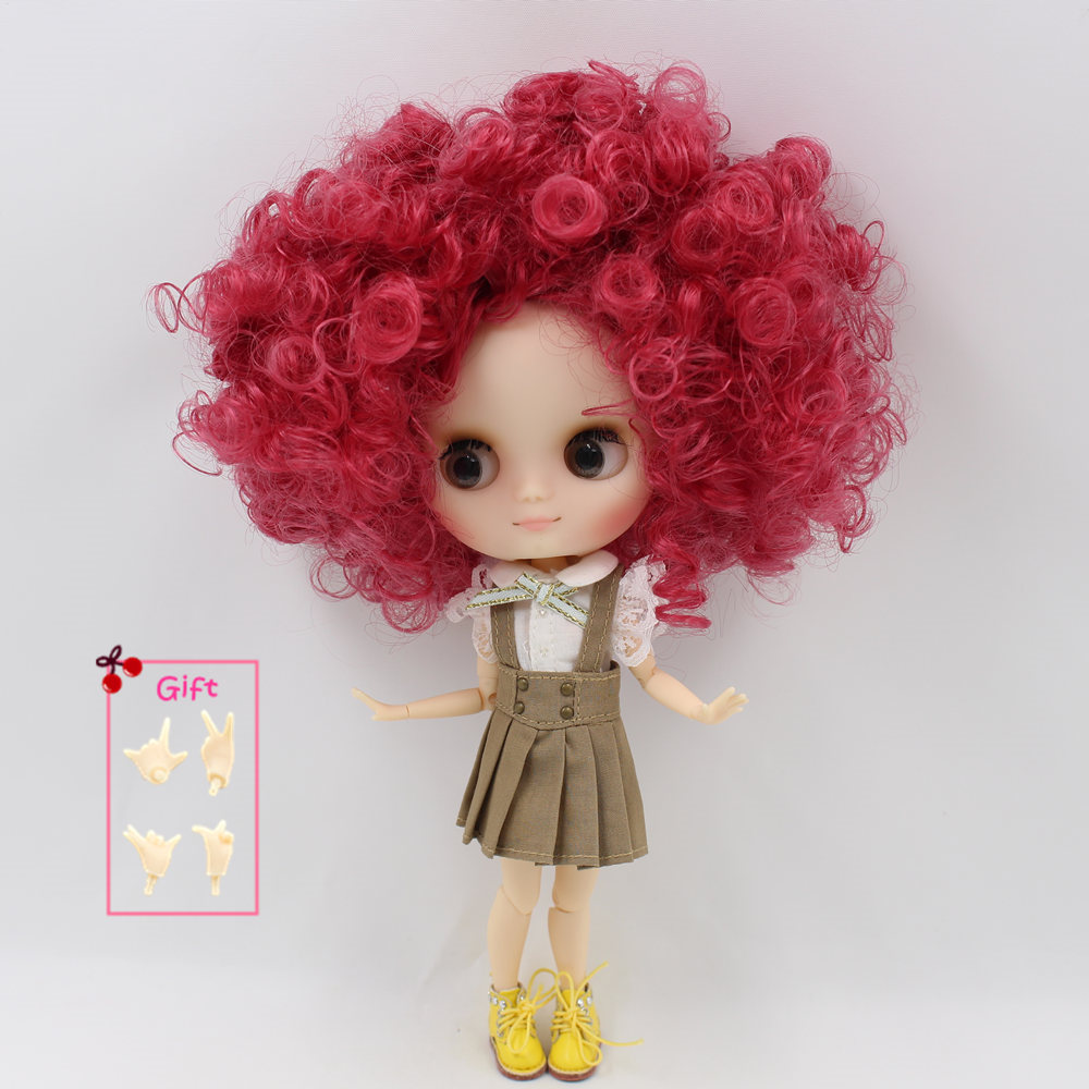 Nude Factory Middle Blyth doll Series No QE155 Rose Red curly hair Matte face suitable for
