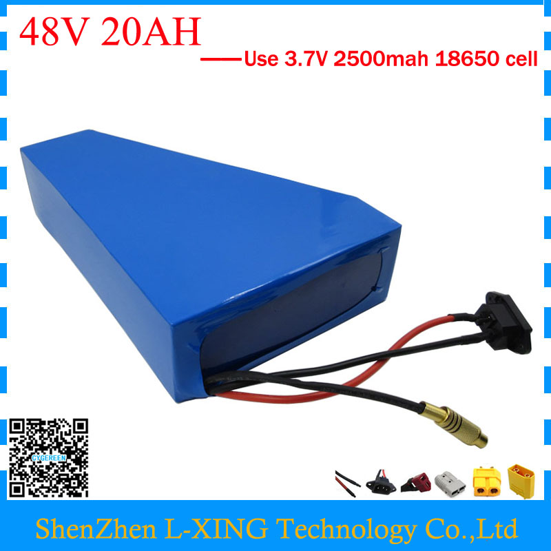 1200W 48V 20AH triangle battery 48 V 20AH lithium battery pack use 3.7v 2500mah 18650 cell With free bag 30A BMS Free customs free customs duty 1000w 48v battery pack 48v 24ah lithium battery 48v ebike battery with 30a bms use samsung 3000mah cell